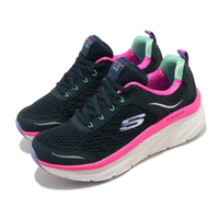 【SKECHERS】休閒鞋 D Lux Walker 微增高 女鞋 健走 記憶型泡棉鞋墊 緹花網布 透氣 藍 粉(149023NVMT)