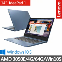 【Lenovo】IdeaPad Slim 1 14吋輕薄筆電-冰河藍 82GW007ATW(AMD 3050E/4G/64G/Win10S)