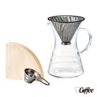 【TCoffee】HARIO-V60白金金屬濾杯咖啡壺組700ml