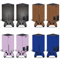 微軟XBOX series X主機貼膜XBOX series X主機貼紙純色木紋貼款式可來圖定製