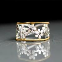 ประณีตทั้งหมดDaisyดอกไม้ผู้หญิงแหวนเงินทองเปิดแหวนปรับอุปกรณ์เสริมเครื่องประดับ