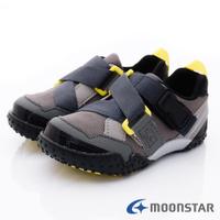 日本月星Moonstar機能童鞋-速乾腳踏車鞋系列寬楦前翹護趾護踝防潑水鞋款22158灰(中小童段/中大童段)