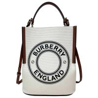 【BURBERRY 巴寶莉】小型徽標圖案棉質帆布 PEGGY 水桶包(米色)