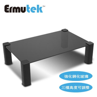 【Ermutek】強化玻璃版高度可調式桌上型螢幕收納架/螢幕增高架(黑004-B)