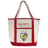 【小禮堂】Hello Kitty 橫式帆布側背袋 帆布手提袋 書袋 帆布袋  米紅 燈泡臉