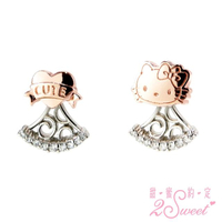 【2sweet 甜蜜約定】Hello Kitty 粉紅時尚小物系列純銀耳環(Hello Kitty 銀飾)