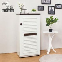 【南亞塑鋼】1.6尺單門百葉塑鋼收納置物櫃/隙縫櫃/鞋櫃(白色+胡桃色)
