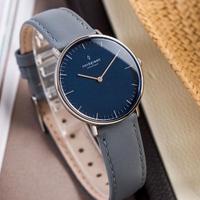 【Nordgreen】ND手錶 Native 本真 32mm Lille 月光銀殼×藍面 北極灰真皮錶帶(NR32SILEGRNA)