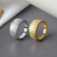 Creative ไม่สม่ำเสมอเว้าเรขาคณิตแหวนเปิดหญิงทองเงินสีโลหะแหวนแฟชั่นเครื่องประดับของขวัญ