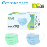 【買3送1】文賀 素色成人醫用平面口罩50入-綠/藍 全球藥局