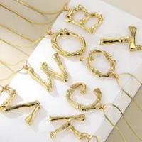 Lost Lady โลหะทองคำ26ตัวอักษรสร้อยคอผู้หญิงตัวอักษรเริ่มต้นจี้สร้อยคอ Link Chain เครื่องประดับของขวัญ