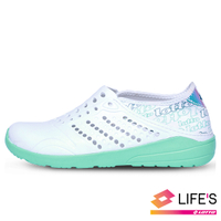 LOTTO樂得-義大利第一品牌 女款粉彩洞洞鞋 [LT0AWS2315] 白綠【巷子屋】