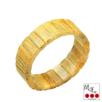 【開運方程式】金黃滿絲鈦晶手排17mm手排(隨機出貨)