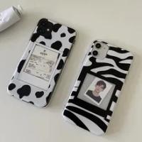 เกาหลี Polaroid DIY กระดาษ Jam วัว Zebra กรณีซิลิโคนโทรศัพท์นุ่มสำหรับ Iphone ของ Apple Iphone 7 8 Plus X XS XR สูงสุด11 Pro 12มินิ