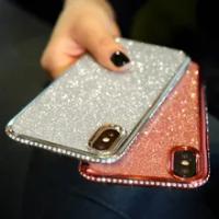 Shiny Bling Glitter CaseสำหรับIphoneของApple 11 12 Mini Pro XS MAX X XR 10 7 8 Plus 6 S 6 SE 2020 Rhinestoneนุ่มTPU Cover