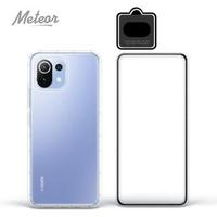 【Meteor】MI 小米11 Lite 5G 手機保護超值3件組(透明空壓殼+鋼化膜+鏡頭貼)