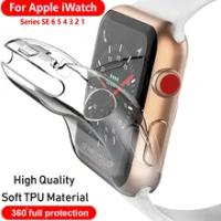 นาฬิกาสำหรับ Apple นาฬิกา SE/6/5/4 40มม.44มม.360 Slim Clear TPU ป้องกันหน้าจอสำหรับ IWatch Series 3/2/1 38มม.42มม.