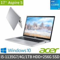 【Acer 宏碁】A517-52-57N5 17.3吋雙碟效能筆電(i5-1135G7/4G/1TB HDD+256G SSD/Win10)