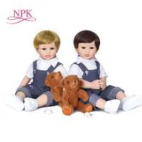 55 Cm Asli NPK Full Body Silikon BEBE Boneka Reborn Balita Boneka Laki-laki Dua Warna Rambut Mandi Mainan Fleksibel Lembut sentuh