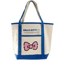 【小禮堂】Hello Kitty 橫式帆布側背袋 帆布手提袋 書袋 帆布袋  米藍 蝴蝶結