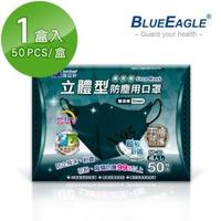 【藍鷹牌】台灣製 成人立體型防塵口罩 五層式 50片/盒(碧湖綠)
