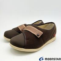 ★日本月星Moonstar機能介護鞋PASTEL系列4E寬楦輕量防止絆倒鞋款4053咖啡(銀髮段)
