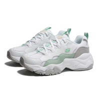 【滿千折百優惠開跑】SKECHERS 休閒鞋 D' LITES 3 白綠 皮革 厚底 老爹鞋 女 (布魯克林) 88888210WMNT