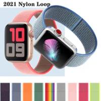 ห่วงไนล่อนสำหรับ Apple Watch Band 40มม.44มม.42มม.38มม.Smartwatch เข็มขัด Correa สร้อยข้อมือ IWatch Series 4 5 SE 6นาฬิกา