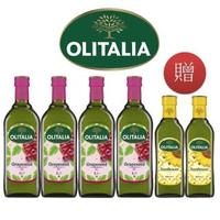 【Olitalia 奧利塔】葡萄耔油1000mlx4瓶(+頂級葵花油500mlx2瓶-禮盒組)