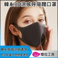 【呼吸閥升級透氣款3入】韓系3D真絲涼感透氣口罩 海綿口罩 防塵口罩 立體口罩 可水洗防污新款口罩 防飛沫防塵