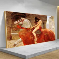 Famous Painting Lady Godiva By John Collier Nude Woman Canvas Painting Posters and Prints Wall Pop Art Picture Cuadros for Home