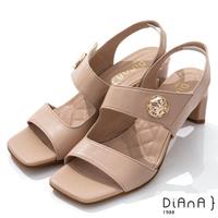【DIANA】6.7cm質感羊皮方頭寬板金屬釦魔鬼氈露趾高跟涼鞋(粉)