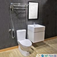 【CERAX洗樂適】CAESAR凱撒衛浴套餐六件組 馬桶+浴櫃組+(台製)面盆龍頭+沐浴龍頭+有框鏡+ST放衣架