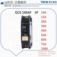 TECO 東元 QCE 100AF 無熔絲斷路器 無熔絲開關 NFB MCCB 1P