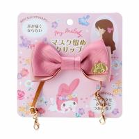 小禮堂 美樂蒂 緞帶蝴蝶結造型口罩掛繩 伸縮口罩繩 鐵髮夾 馬尾夾 (粉 防疫對策)