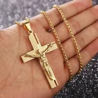 Cross Jesus Christ ไม้กางเขนทองทางศาสนาจี้สร้อยคอของขวัญเครื่องประดับ