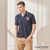 【NAUTICA】純棉簡約刺繡短袖POLO衫(深藍)