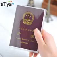 ETya กระเป๋าเดินทางกันน้ำกันน้ำกันน้ำผู้ถือหนังสือเดินทางกระเป๋าสตางค์โปร่งใส PVC ID ผู้ถือบัต...