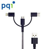 【PQI 勁永】i-Cable Multi-Plug 180cm 三合一傳輸線(Type-C接頭、Lightning 8pin 一線多用)