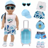 ตุ๊กตาเสื้อผ้ากระเป๋าเดินทางเสื้อยืด + กระเป๋าเป้สะพายหลังอเมริกัน18นิ้ว Bourne & 43ซม.ตุ๊กตาเด็ก...