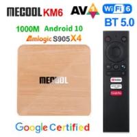 Mecool KM6 Deluxe Smart TV BOX Android 10 Amlogic S905X4 4GB 64GB 32GB TVBox 2.4G/5.8G Wifi 6 Google Certified ATV Set Top Box