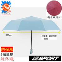 【UF72+】UF-0125抗UV防風黑膠超厚合金/寬110CM三折自動傘(遇水會出現櫻花圖案)