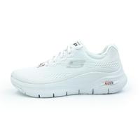 SKECHERS ArchFit 健走鞋 運動 網布 足弓鞋墊 厚底 全白色 女生尺寸【149057WNVR】