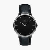 刷卡滿3千回饋5%點數|Nordgreen Native本真 月光銀系列極夜黑真皮腕錶40mm(NR40SILEBLBL)