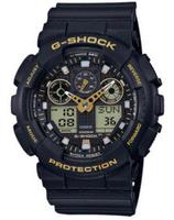 CASIO 卡西歐 G-SHOCK 簡約時尚潮流雙顯腕錶-黑x金 GA-100GBX-1A9