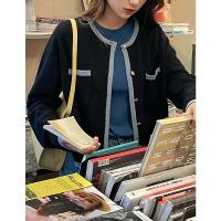 百搭韓版撞色邊單排扣秋季淨色氣質顯瘦新款女短版休閒針織上衣潮