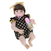 55Cm Full Body Silikon Reborn Boneka Bayi Mainan Realistis Yang Baru Lahir Bayi Boneka dengan Anting-Anting Gadis Brinquedos Mandi Mainan