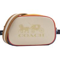 【COACH】限定款 大馬車LOGO雙背帶三用腰包相機包斜背包(白)