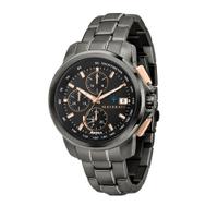刷卡滿3千回饋5%點數|MASERATI 瑪莎拉蒂 SUCCESSO 光動能玫瑰金黑鋼腕錶44mm(R8873645001)