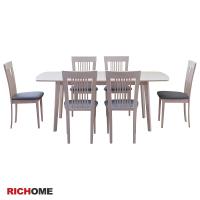 RICHOME TA315 CH1020*6安娜可延伸實木餐桌椅組(一桌六椅)-3色專人宅配 餐椅 餐桌 餐組 木桌